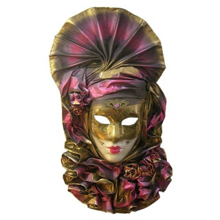 Venetian Handmade Gold and Rose Pink Mask With Flower Pleated Jabot For Sale