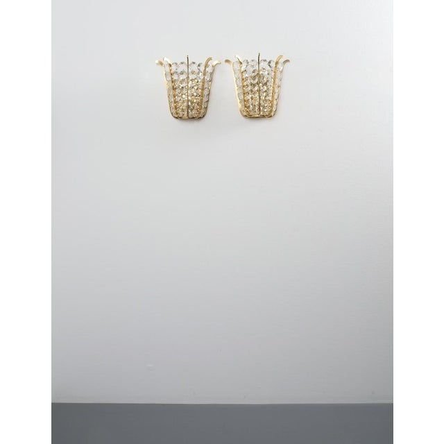 Metal Pair of Bakalowits Crown Sconces Brass and Glass, Austria 1955 For Sale - Image 7 of 8