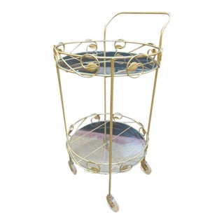 1960s Vintage Mid Century Modern Round 2 Tier Bar Cart For Sale