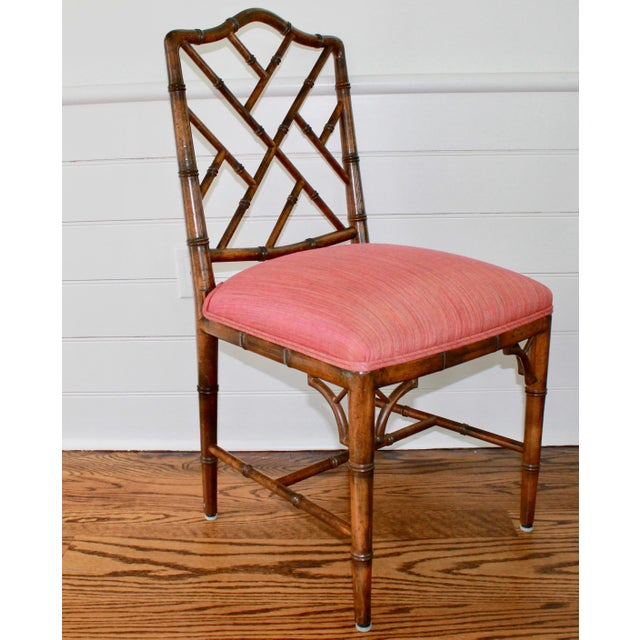 1970s Chinese Chippendale Style Faux Bamboo, Wood Dining Chairs by Century Furniture - Set of 6 For Sale - Image 5 of 11