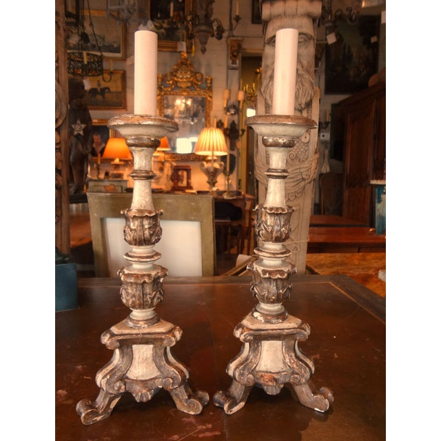 White 19th Century Italian Candle Holder, Pair For Sale - Image 8 of 10