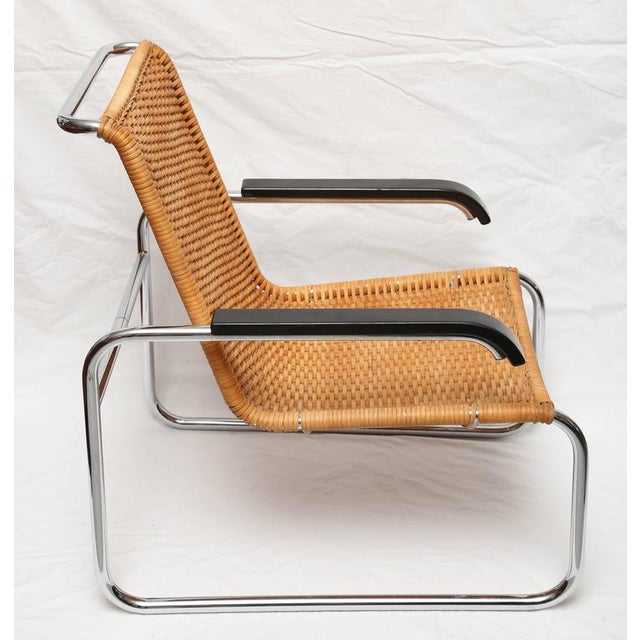 Mid-Century Modern Marcel Breuer for Thonet B35 Rattan Lounge Chair with Changeable Armrests For Sale - Image 3 of 9