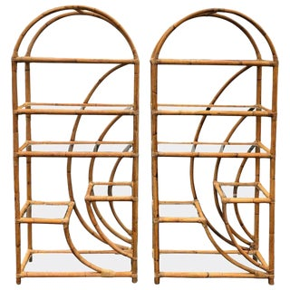 1960s Boho Chic Rattan Étagères - a Pair For Sale