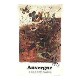 "Salvador Dali Auvergne 39"" X 24.25"" Poster 1970 Surrealism Brown Butterfly, Butterflies, Moths, Collage, Montage, Surrea For Sale"