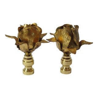 Vintage Italian Tole Gold Leaf Rose Finials by C. Damien Fox. - a Pair For Sale