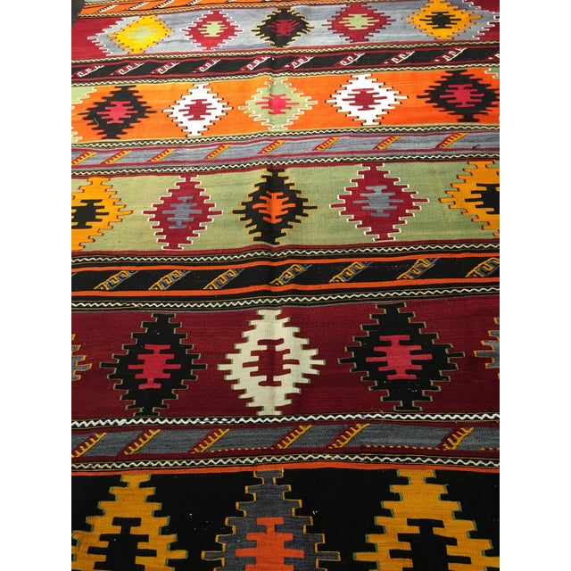 "Vintage Turkish Kilim Patterned Rug - 6'2""x11'3"" - Image 3 of 9"
