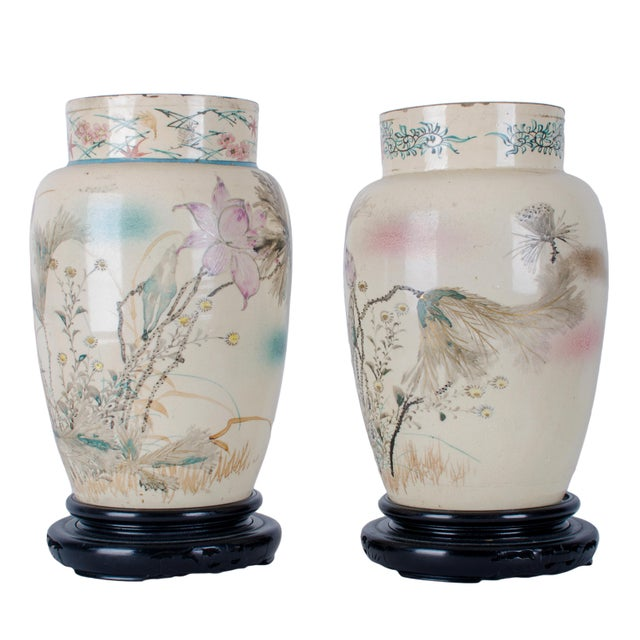 Asian Hand Painted Japanese Vases - a Pair For Sale - Image 3 of 9