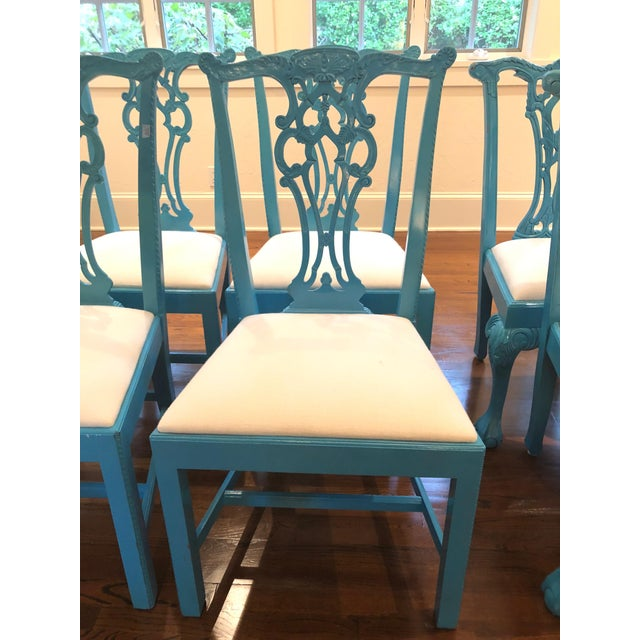 Teal 1950s Vintage Laquered Carved Wood Dining Chairs - Set of 8 For Sale - Image 8 of 13
