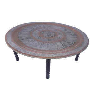 Antique Persian/Iranian/Moroccan Copper Tea Coffee Tray Table For Sale