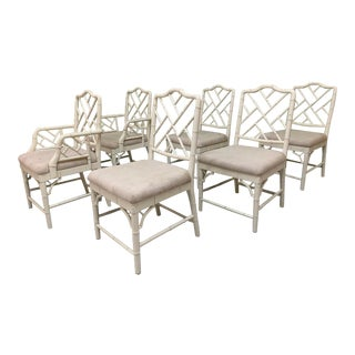 Faux Bamboo Chinese Chippendale Dining Chairs Set of 6 For Sale