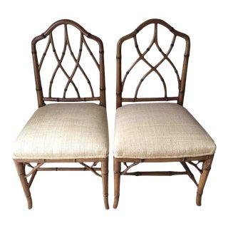 Faux Bamboo Raffia Seats Chairs - Pair