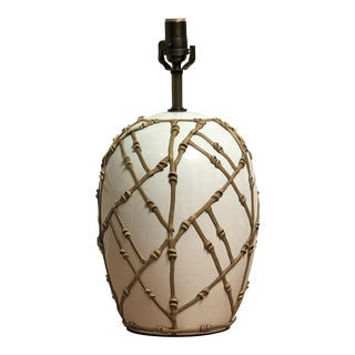 1970s Chinoiserie Bamboo Motif Ceramic Table Lamp For Sale