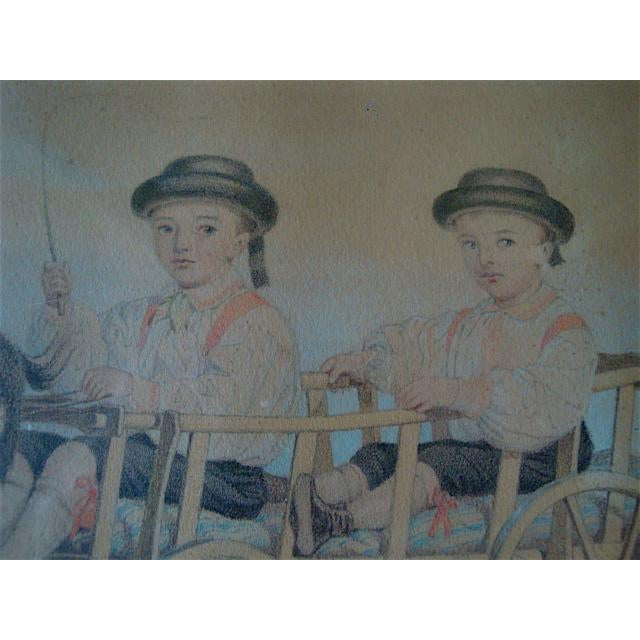 Cottage Boys in Goat Cart Victorian Handtinted Portrait For Sale - Image 3 of 6