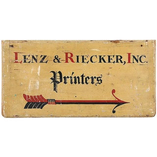 C. 1900Printer's Sign From Long Island NY For Sale