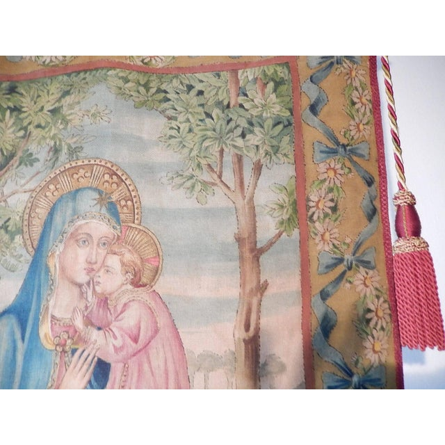 Impressionism 19th Century Huge Italian Religious Banner Hand-Painted For Sale - Image 3 of 11