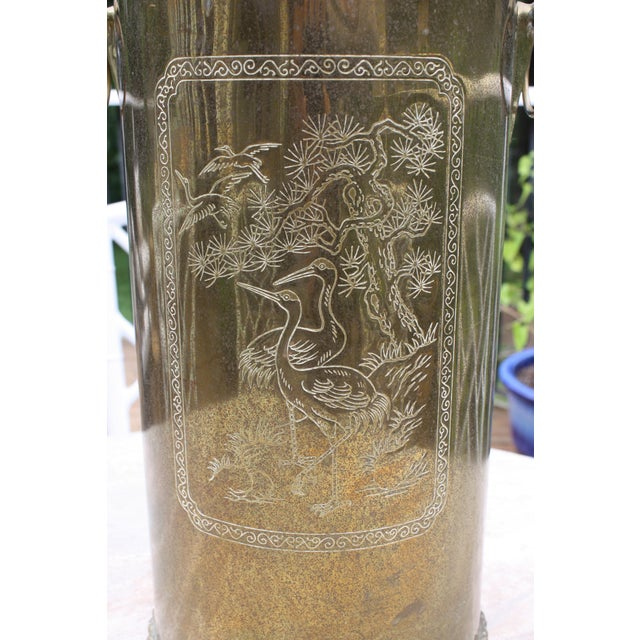 Mid-Century Brass Chinoiserie Umbrella Stand - Image 3 of 9