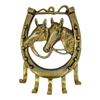 Vintage Brass Horse and Horseshoe Wall Hook