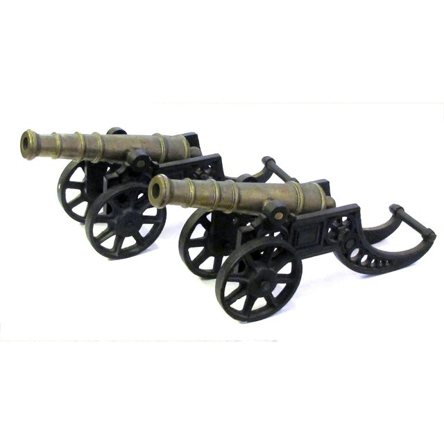 English Victorian Brass Ornamental Signal Cannons on Cast Iron Carriages - a Pair For Sale - Image 9 of 9