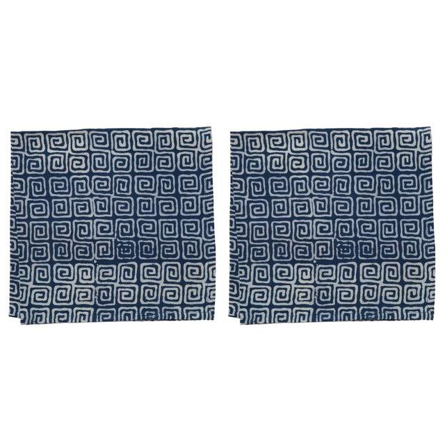 Countryside Maze Napkins, Indigo - A Pair For Sale - Image 4 of 4