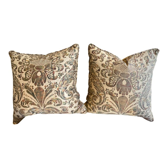 Vintage Fortuny Pillows - a Pair For Sale