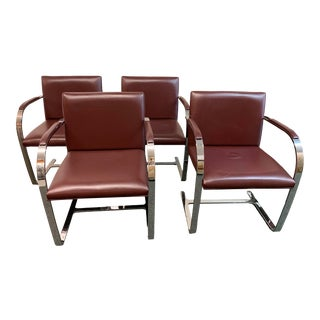 Mies Van De Rohe Brno Barstock Arm Chairs, Set of Four For Sale