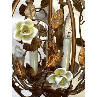 Vintage Hollywood Regency Gold Gild and Porcelain Flowers Birdcage Chandelier Preview