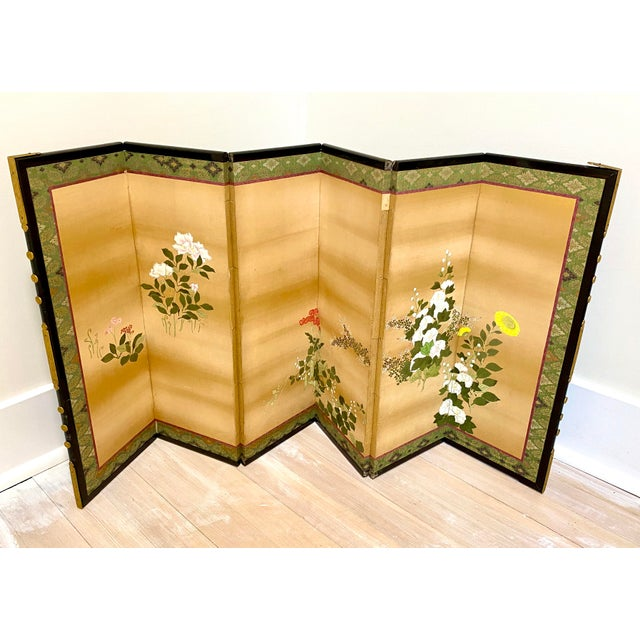 Japanese 19th Century Japanese Byobu 6-Panel Table Screen With Summer Flowers For Sale - Image 3 of 13