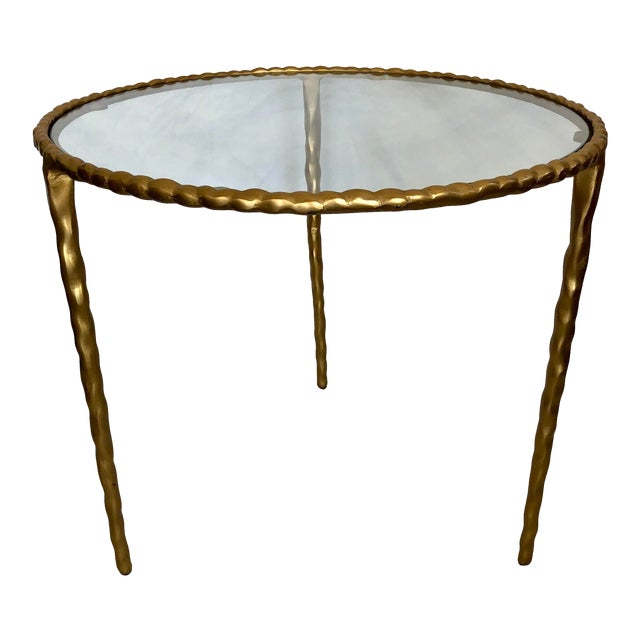 Jamie Young Glass Top Gold Table For Sale