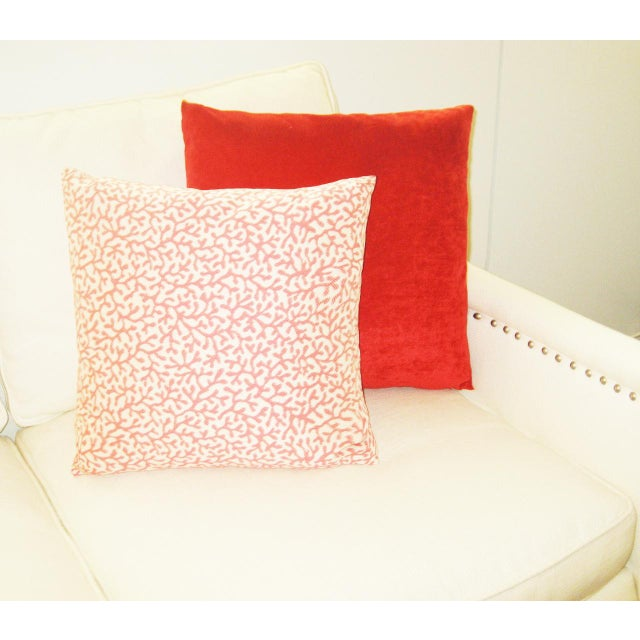 Contemporary Outdoor/Indoor Coral Print Pillow For Sale - Image 3 of 4