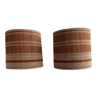 Vintage Maria Kipp Woven Bamboo Lampshades - a Pair For Sale