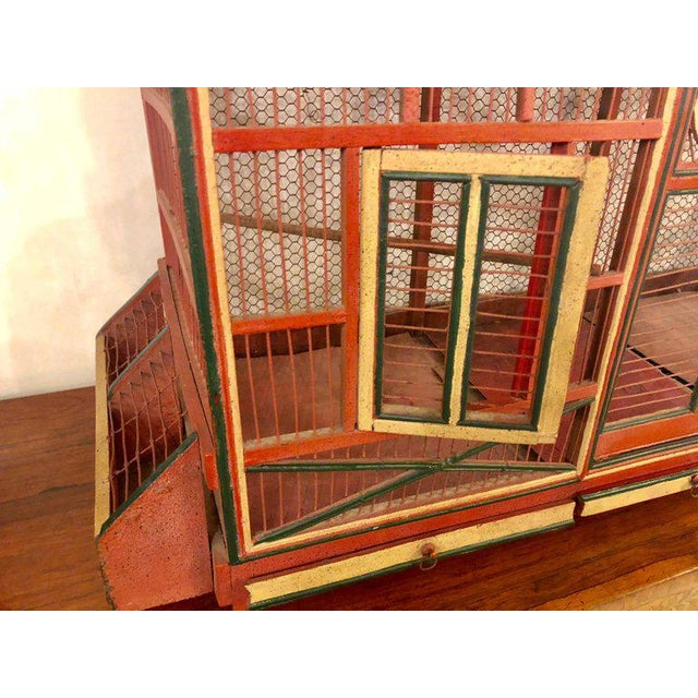 Americana Americana Folk Art Circus Tent Style Original Painted Bird Cage For Sale - Image 3 of 13