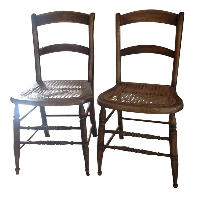 Antique Walnut Cane Seat Dining Chairs - Pair - Antique Walnut Cane Seat Dining Chairs - Pair Chairish
