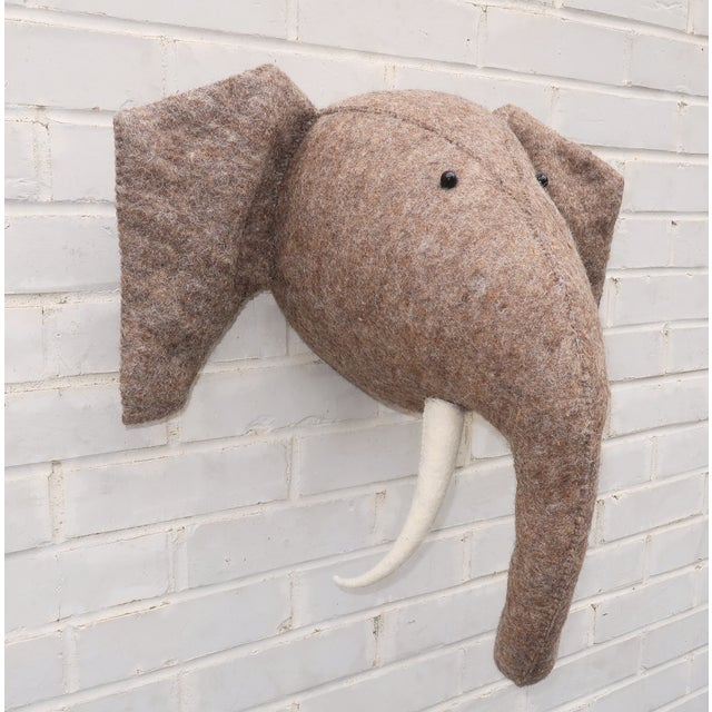 Children's Whimsical Large Wall Mount Felt Elephant Head For Sale - Image 3 of 12