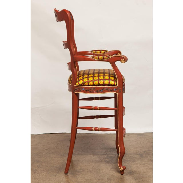 Carved French Country Red Bar Stools - A Pair - Image 3 of 10