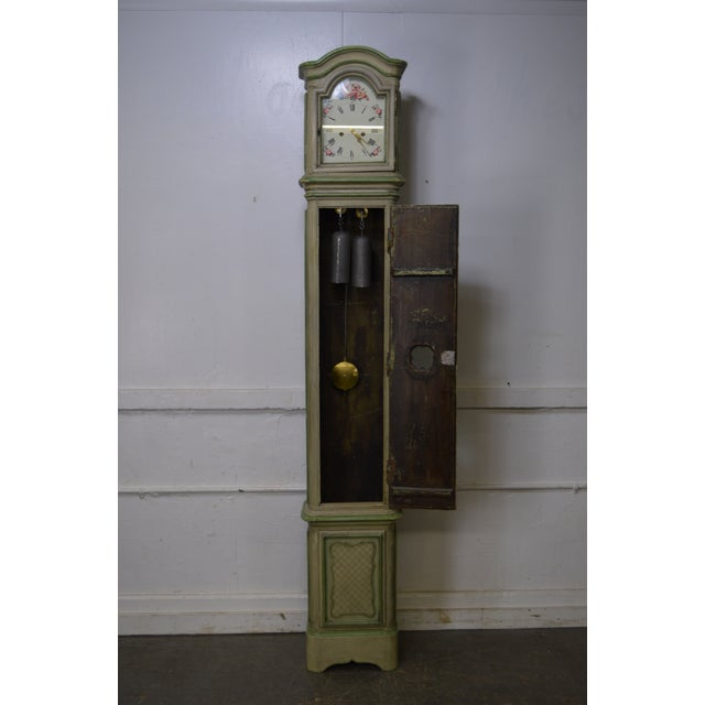 18th Century French Louis XV Period Hand Painted Long Case Clock For Sale - Image 11 of 13