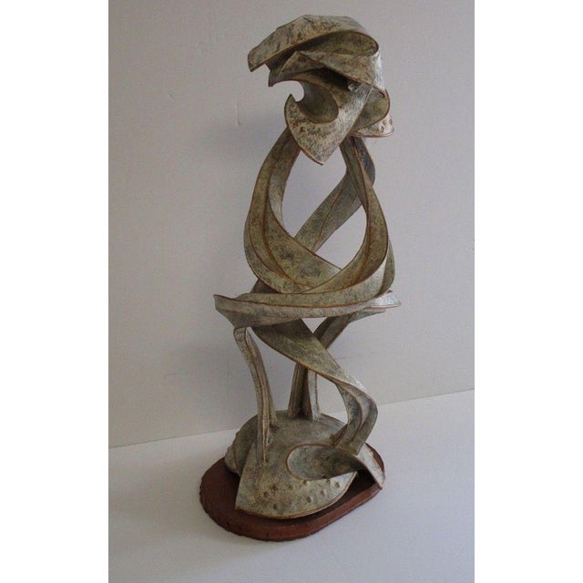 Brown Expressionist Abstract Metal Sculpture For Sale - Image 8 of 13