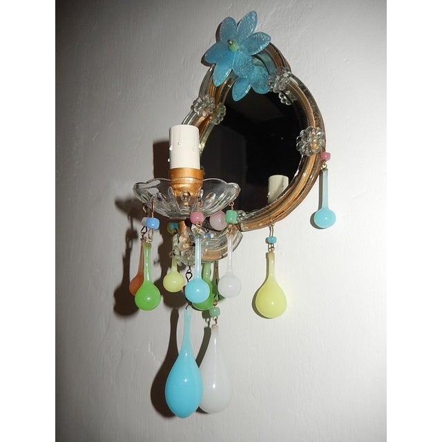 French Multicolored Opaline Murano Glass Mirrored Sconces For Sale - Image 12 of 13