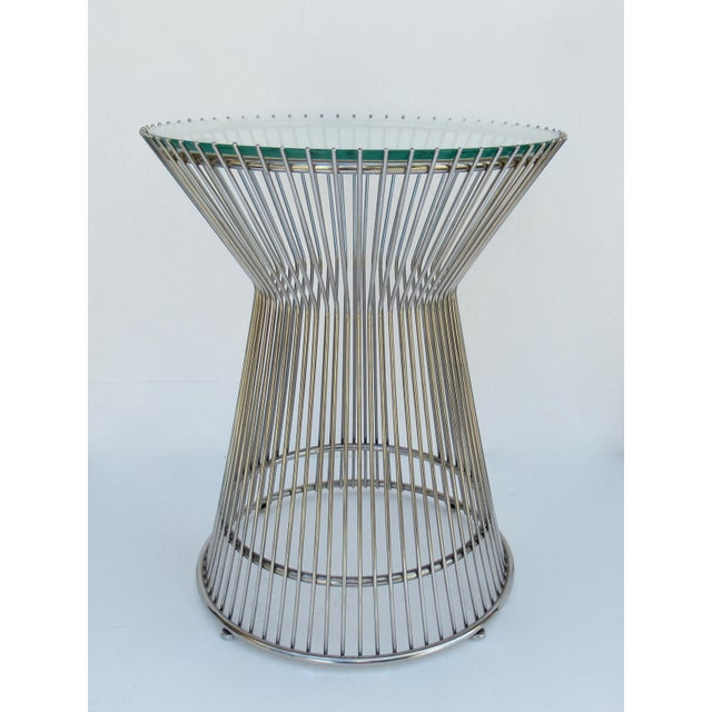 Warren Platner-Style Polished Steel and Glass Round Accent, Side Table For Sale - Image 13 of 13