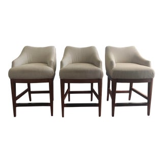 Upholstered Vanguard Lowback Counter Stools - Set of 3 For Sale