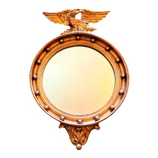 Vintage Gilt Federal Eagle Convex Mirror For Sale