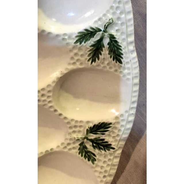 1960s Cottage White Ceramic Egg Plate For Sale - Image 4 of 6
