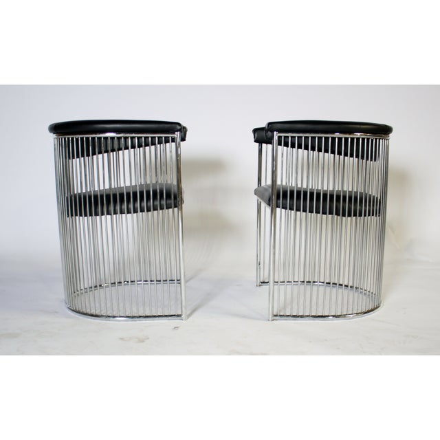 Platner Style Chrome & Black Vinyl Chairs - A Pair - Image 4 of 8
