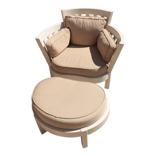 Weatherend High Back Chair & Ottoman
