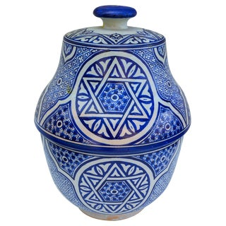 Blue Moorish-Patterned Ceramic Urn For Sale