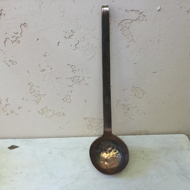 Large heavy 19th century French copper Ladle signed Dehillerin rue coquilliere Paris.