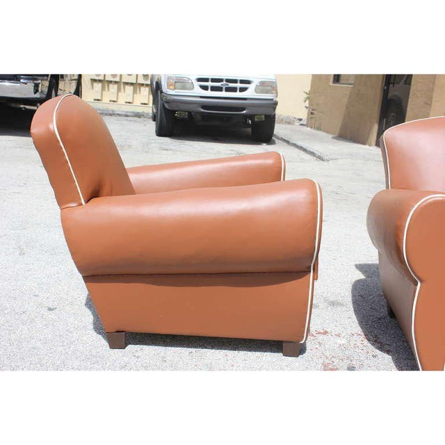 1950s Vintage French Art Deco Club Chairs - a Pair For Sale - Image 4 of 12