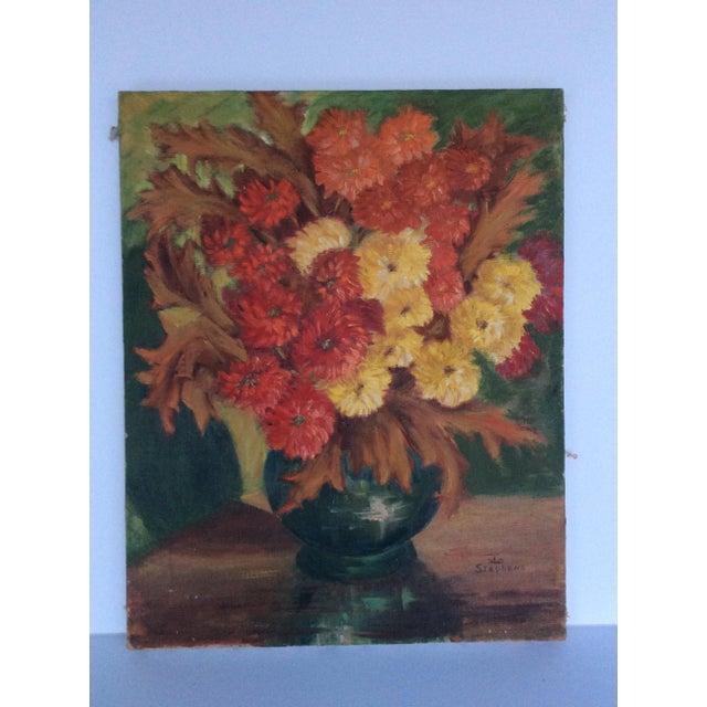1960s Autumn Flowers Painting Chairish