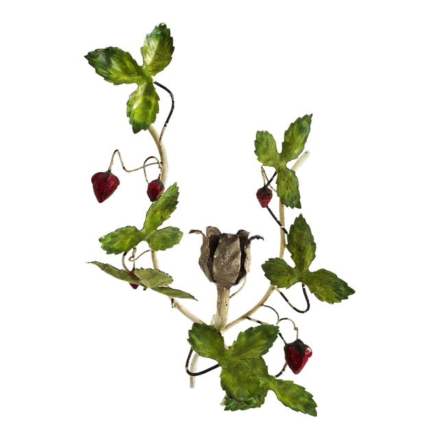 Italian Tole Leaves & Strawberries Sconce For Sale