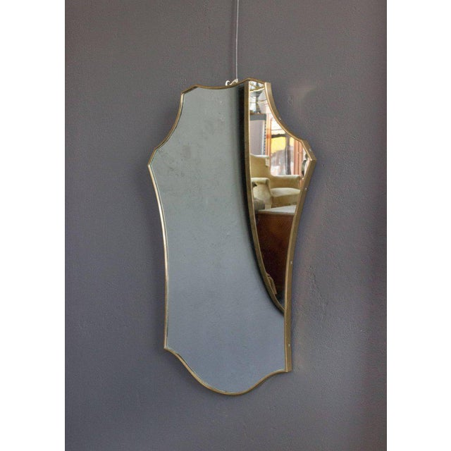 Gold Mid-Century Modern Italian Brass Mirror For Sale - Image 8 of 9