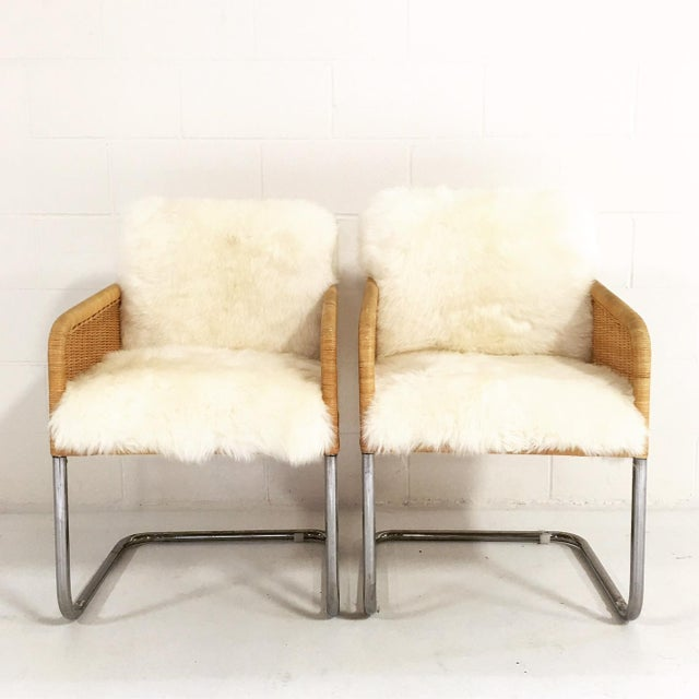 Woven Sheepskin Cushion Chairs - Pair - Image 3 of 6